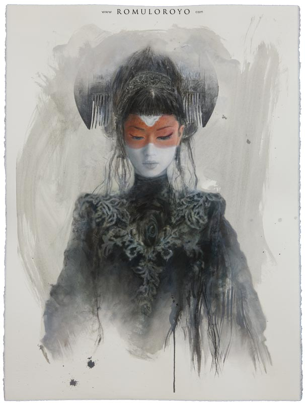 607P-76x56cm-Tomoe-Gozen-IV-Ink-acrylic-and-oil-on-paper-Romulo-Royo
