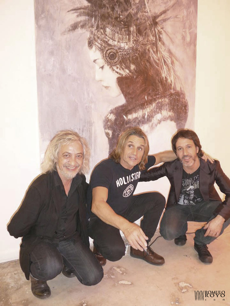 Luis Royo-Nacho-Cano-and-Romulo-Royo-stand-Gallery-Kavachnina-Contemporary-ART- MIAMI-fair
