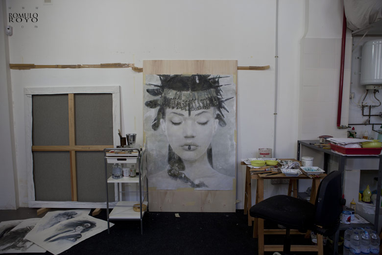work-in-progress-in-studio-of-Romulo-Royo-616P-Goddesses-of-Nibiru-and-some-papers