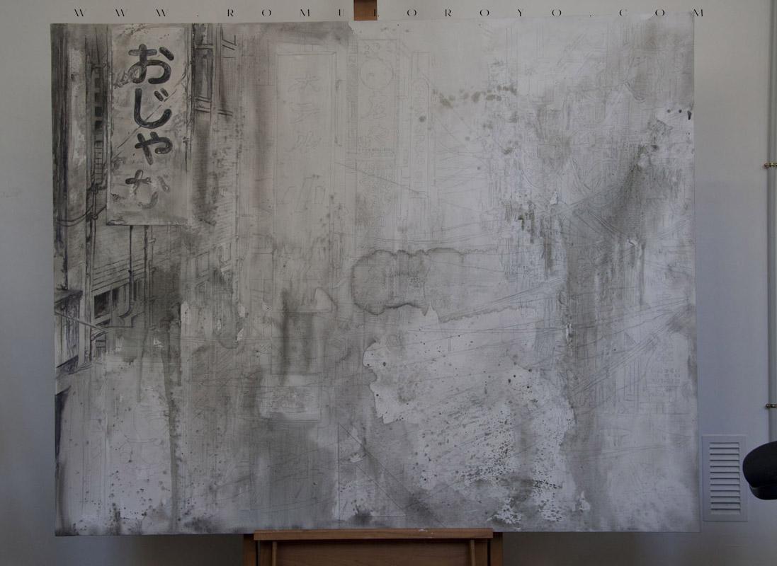 7503-Malefic-Time-110-Katanas---Tokio-2038---Comienzo-lapicero-y-acrilico-sobre-lienzo--Primeros-trazos