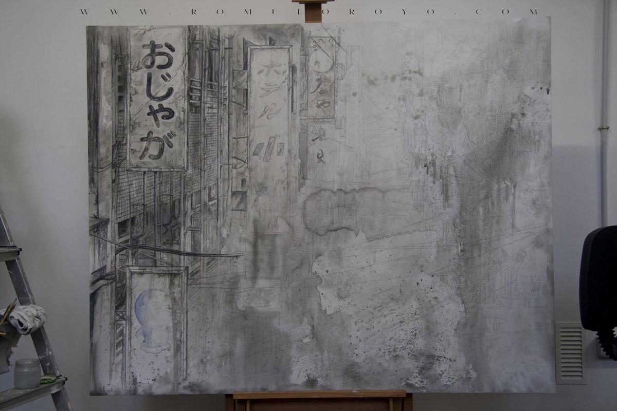 7505-Malefic-Time-110-Katanas---Tokio-2038---Comienzo-lapicero-y-acrilico-sobre-lienzo---Marcando-formas
